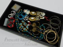 Lot 34: Lot of Costume Jewelry Bangle Bracelets Necklaces Earrings and Brooches