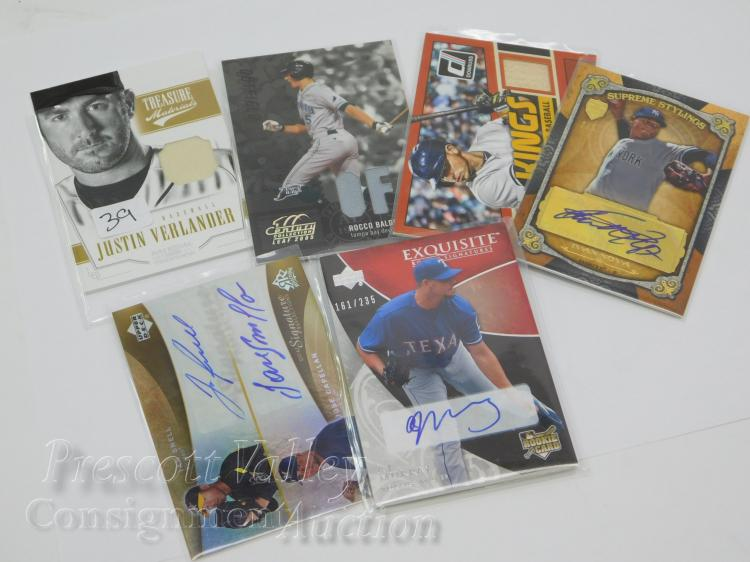 Lot of 6 Baseball Uniform Signature and Bat Collectible Cards