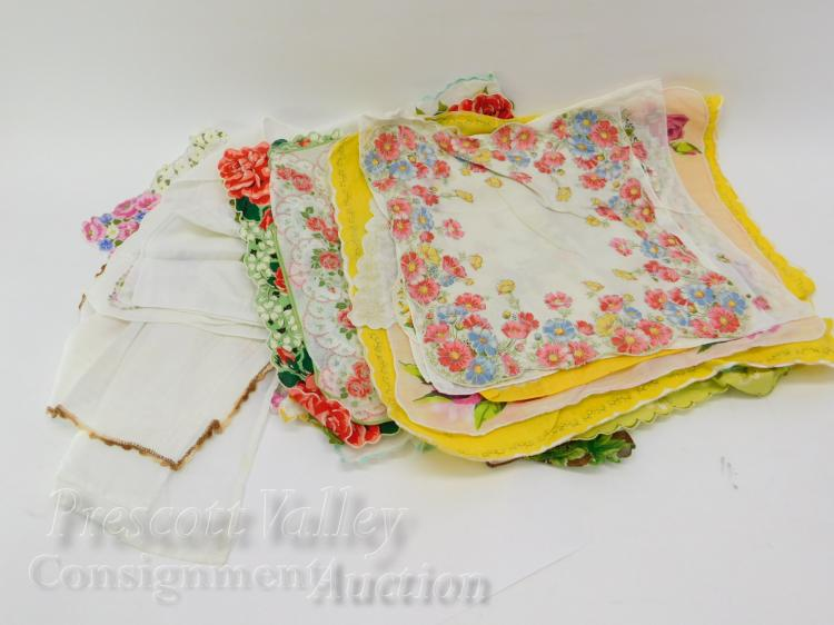 Lot of Vintage Lady's Flower Print and Crochet Handkerchiefs