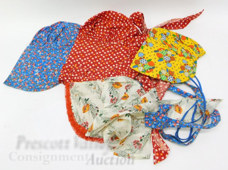 Lot of 4 Vintage Hand Crafted Bonnet Hats