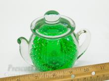 Lot 46: Hand Crafted Green Art Glass Control Bubble Tea Pot