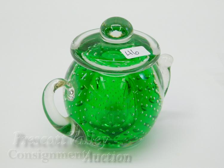 Hand Crafted Green Art Glass Control Bubble Tea Pot