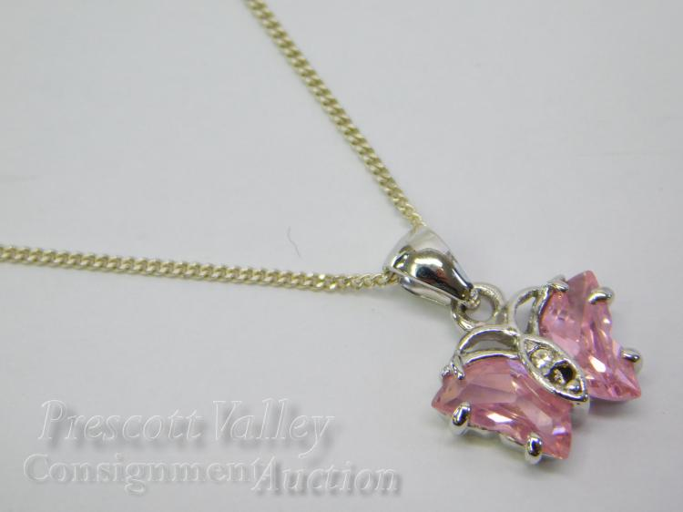"Lot 69: CZ Butterfly Pendant on Sterling Silver 18"" Chain Necklace"