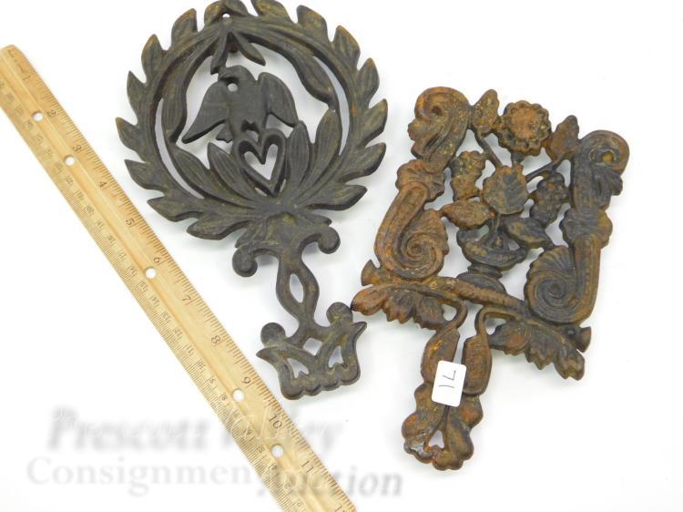 Lot 71: Lot of 2 Vintage Wilton Cast Iron Eagle Heart and Floral Trivets