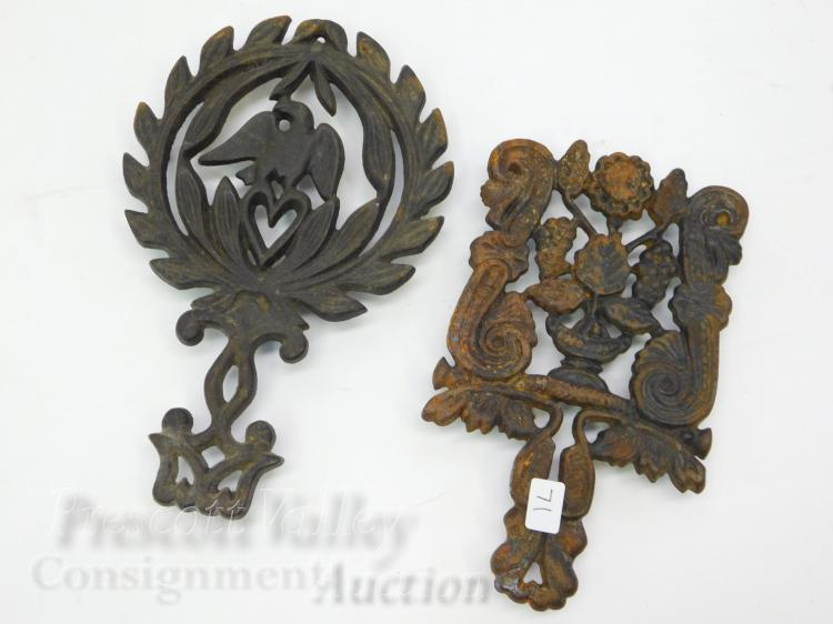 Lot of 2 Vintage Wilton Cast Iron Eagle Heart and Floral Trivets