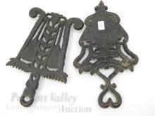 Lot 72: Lot of 2 Vintage 7 and 3 Cast Iron Heart Tassel Trivets