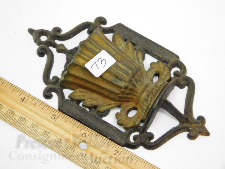 Lot 73: Vintage 1867 Patent Date Cast Iron Vase Wall Mounted Match Holder with Strike Plate