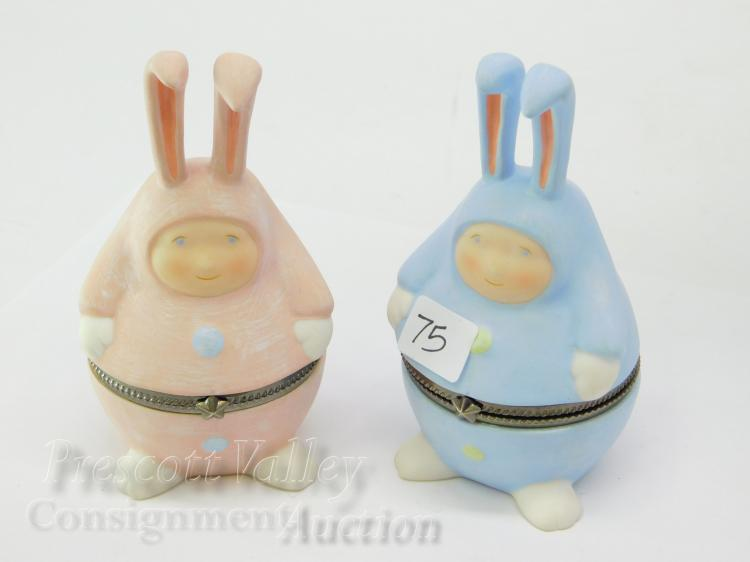 Department 56 Blue and Pink Easter Bunny Trinket Boxes