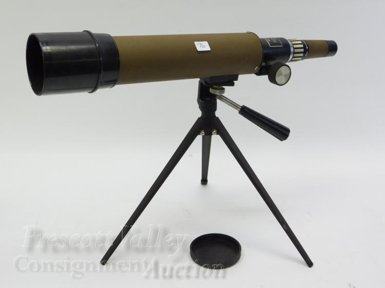 Lot 76: Tasco 20E 15X-45X50mm Zoom Coated Lenses Spotting Scope and Tripod