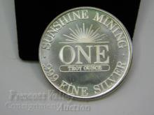 Lot 82: 1984 Sunshine Mining One Troy Ounce .999 Fine Silver Bullion Round