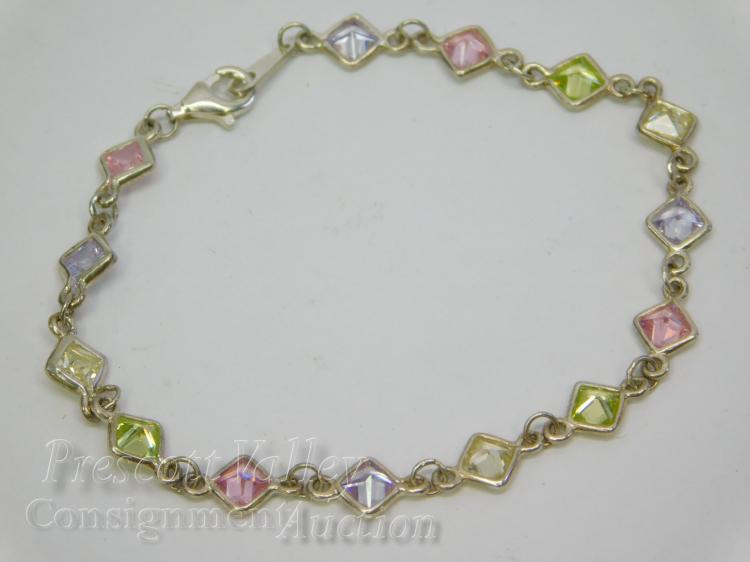"Sterling Silver and Multi Colored CZ 7.25"" Bracelet"