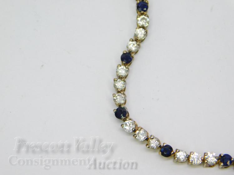 """Lot 88: 10.8 Gram Gold Washed Sterling Silver CZ and Blue Sapphire 7"""" Tennis Bracelet"""