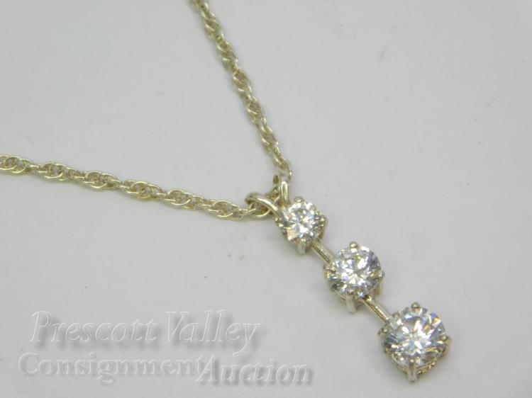 "Sterling Silver and Graduated CZ Pendant on 20"" Chain Necklace"
