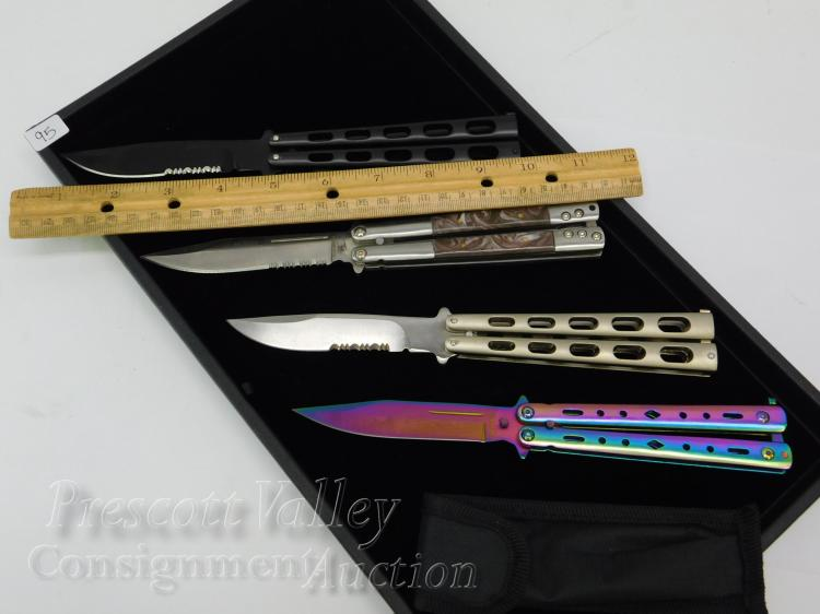 Lot 95: Lot of 4 Unused Serrated and Stainless Steel Folding Butterfly Knives