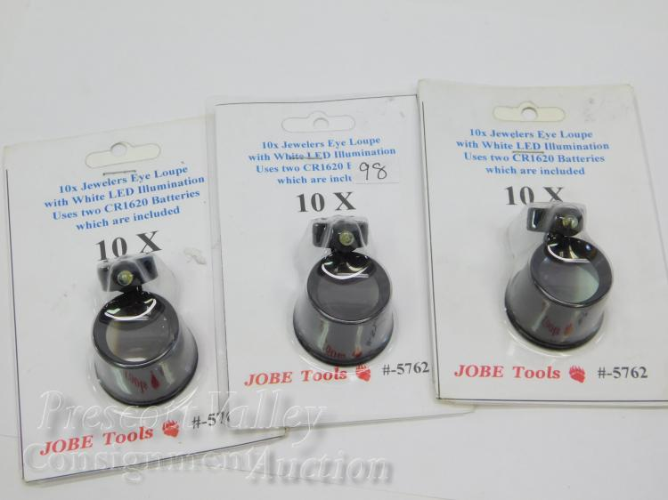 Lot of 3 Unused Jobe Prospecting Tools 10X LED Lighted Jewelers Eye Loupes