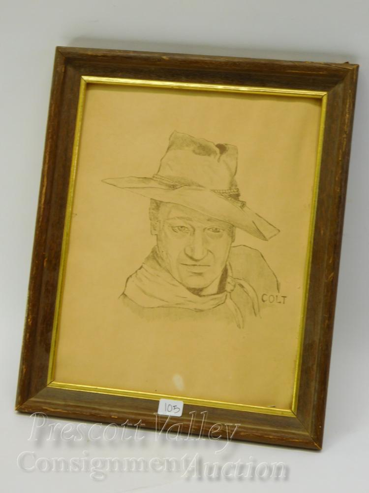 Hand Drawn John Wayne Picture Signed Colt