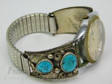 Lot 111: 69.5 Gram Total Weight Navajo Sterling Silver and Turquoise Watch Tips Signed Justin Morris on Mercury Watch