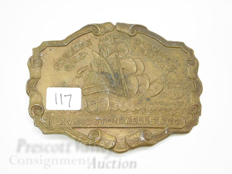 Livingston Wells & Co Foreign and Domestic Gold Dealers Tall Ship Advertising Lewis Belt Buckle