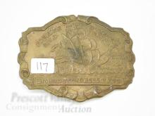 Lot 117: Livingston Wells & Co Foreign and Domestic Gold Dealers Tall Ship Advertising Lewis Belt Buckle