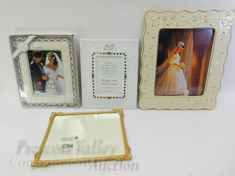 Lot of 4 Unused Picture Frames Including Mikasa Porcelain and Antique Gold Finish