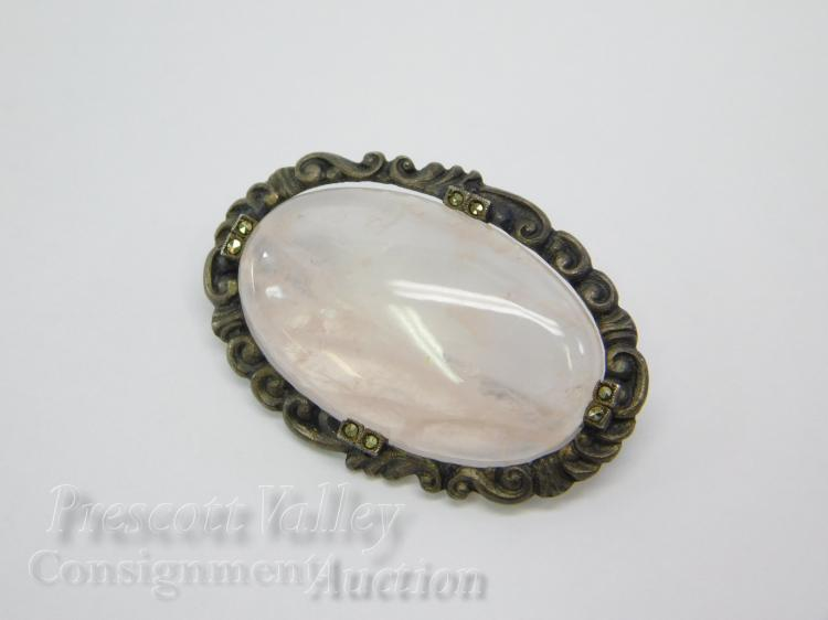 8.5 Gram Vintage Sterling Silver Marcasite and Gemmy Rose Quartz German Pin Brooch