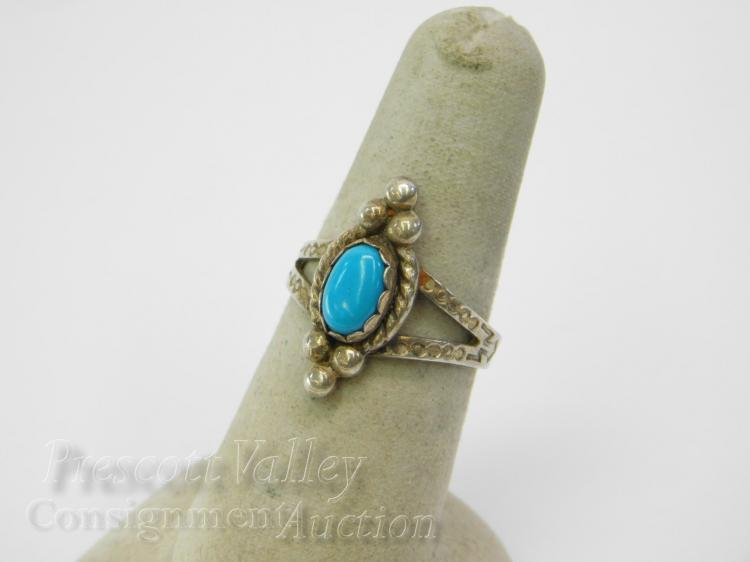 Hand Stamped Sterling Silver and Turquoise Ring Sz 7.25