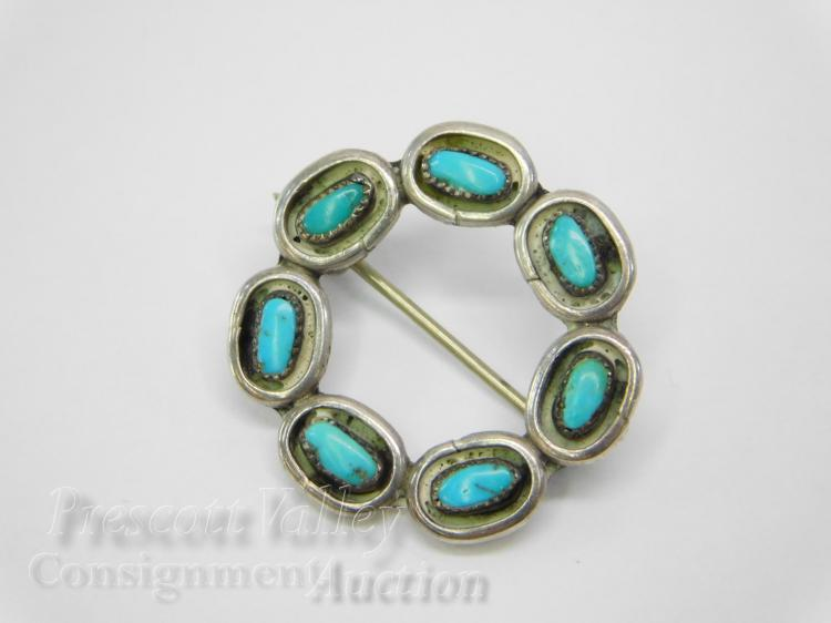 Navajo Sterling Silver and Turquoise Pin Brooch