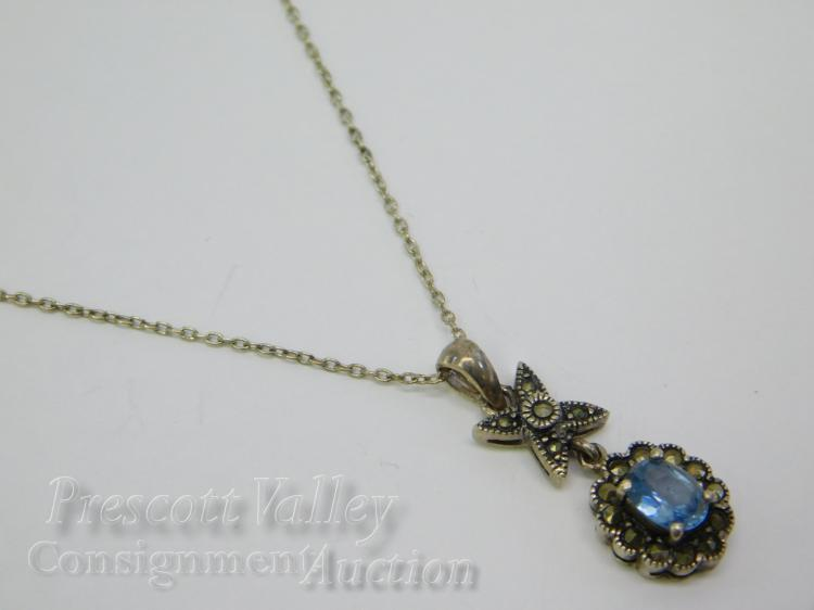 "Sterling Silver Marcasite and Blue Topaz Pendant Signed HAN on 18"" Chain Necklace"