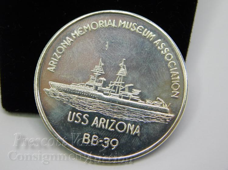 Lot 129: Pearl Harbor U.S.S. Arizona Memorial Museum Association Silver Tone Token Coin