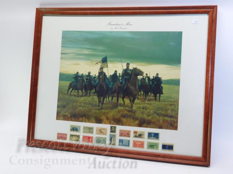 Sheridan's Men Mort Kunstler Civil War Print with US Postage Stamps