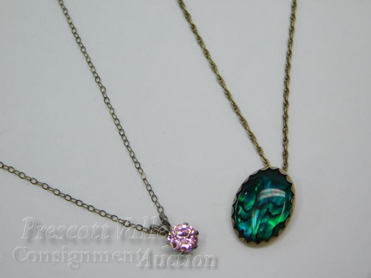 Lot of 2 Sterling Silver Necklaces with Abalone and CZ Pendants