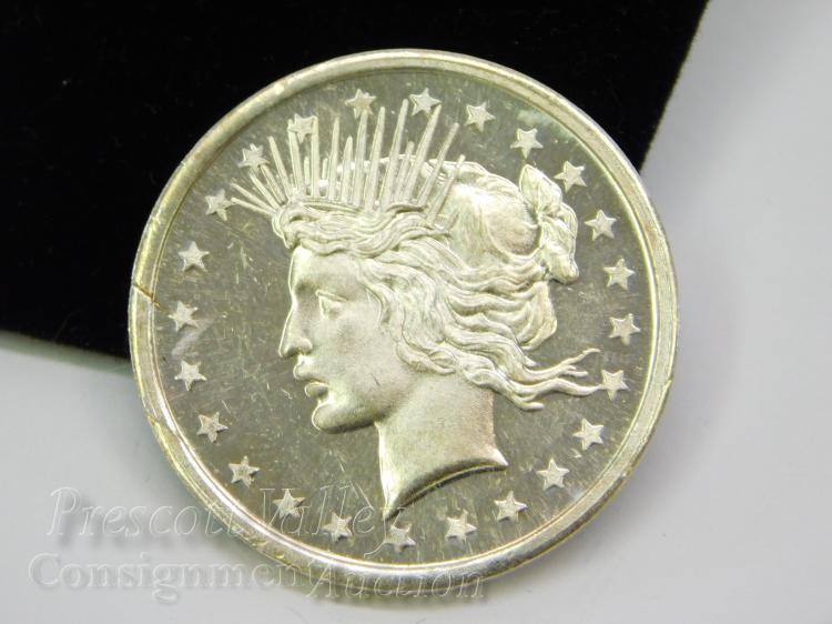 Peace Dollar Style One Troy Ounce .999 Fine Silver Trade Unit Bullion Round