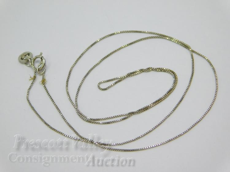 "1 Gram 14K White Gold 18"" Fine Chain Necklace Signed RCI"
