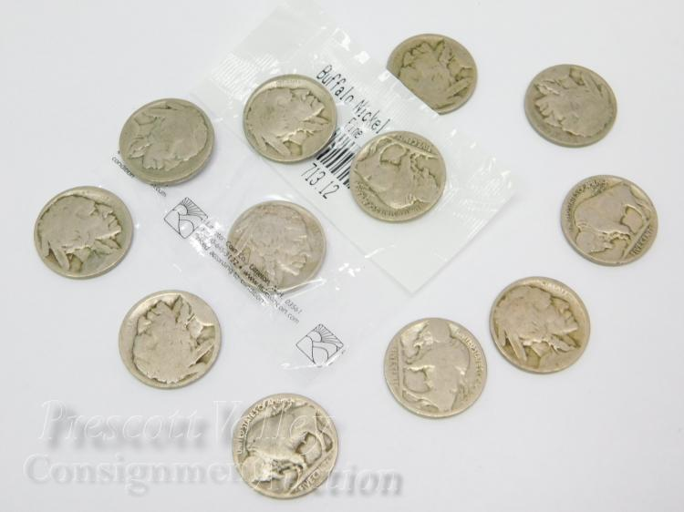 Lot of 12 Buffalo Nickel US Five Cent Coins
