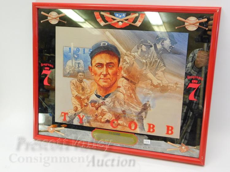 Vintage Ty Cobb Seagram's 7 Bourbon Advertising Mirror