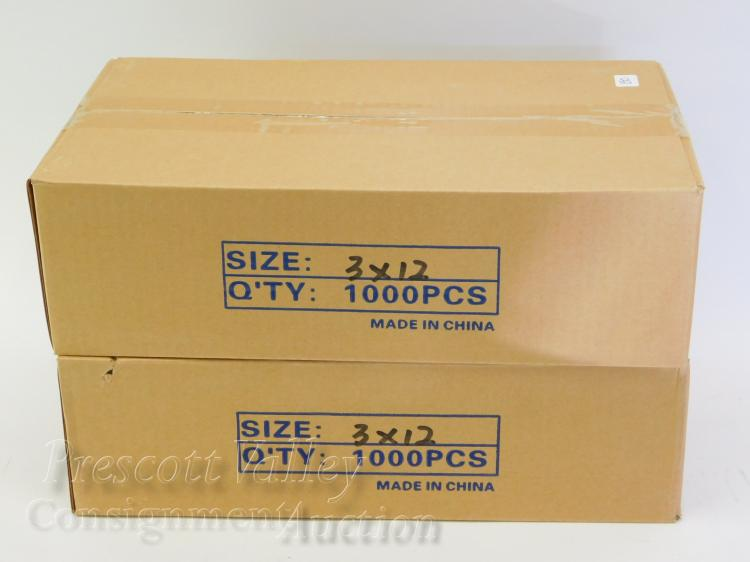 "Lot of 2 Sealed 1000 Count Cases of 3""x12"" Ziploc Bags"