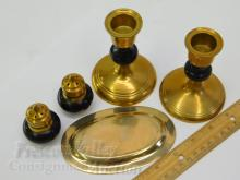 Lot 153: Lot of Brass Wood Salt Pepper Shakers Candle Holders and Engraved Tray