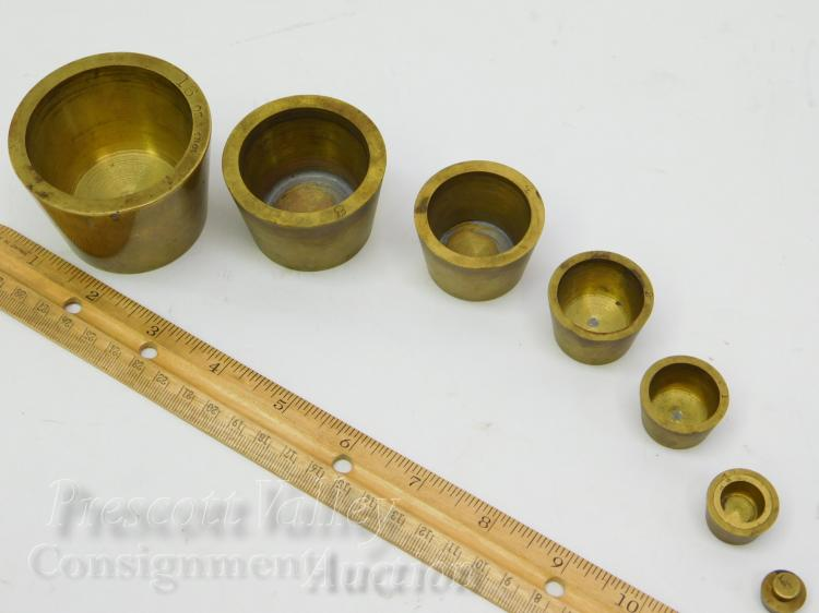 Lot 154: Vintage Brass Nesting Gold Assayers Weights From 1/4 to 16 Troy Ounces