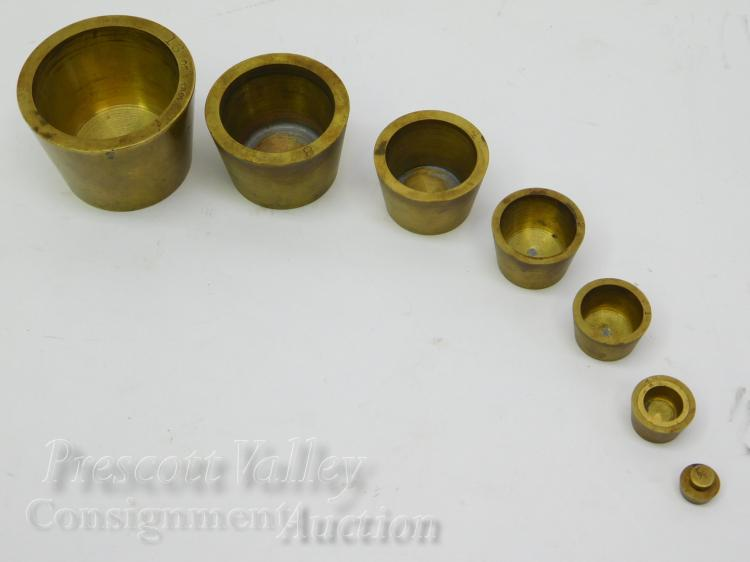 Vintage Brass Nesting Gold Assayers Weights From 1/4 to 16 Troy Ounces