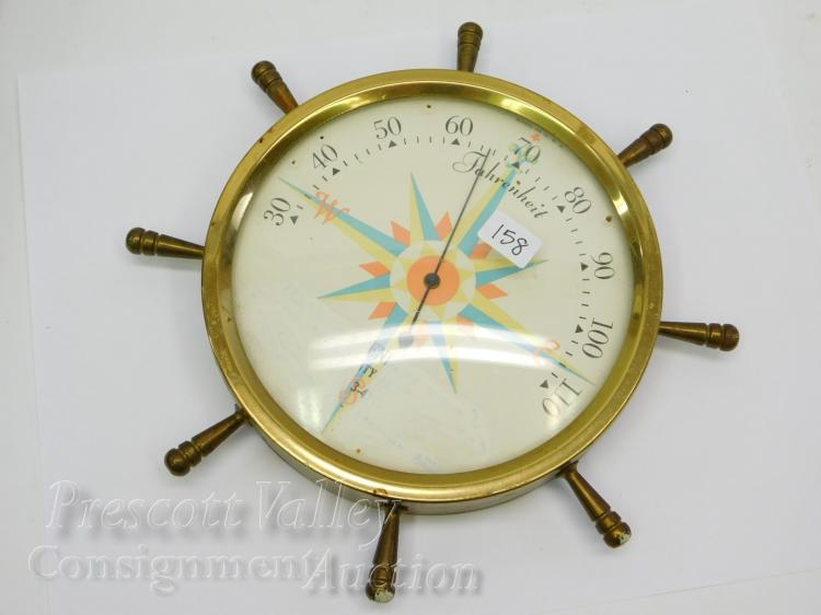 Vintage Brass Advertising Ship Wheel Wall Mounted Thermometer