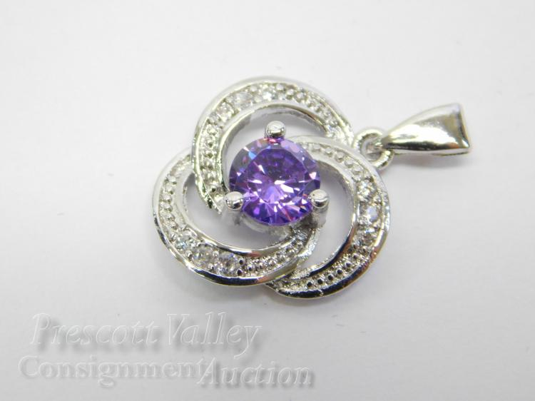 Lot 160: Rhodium Plated Sterling Silver Amethyst and Diamond Chip Pendant