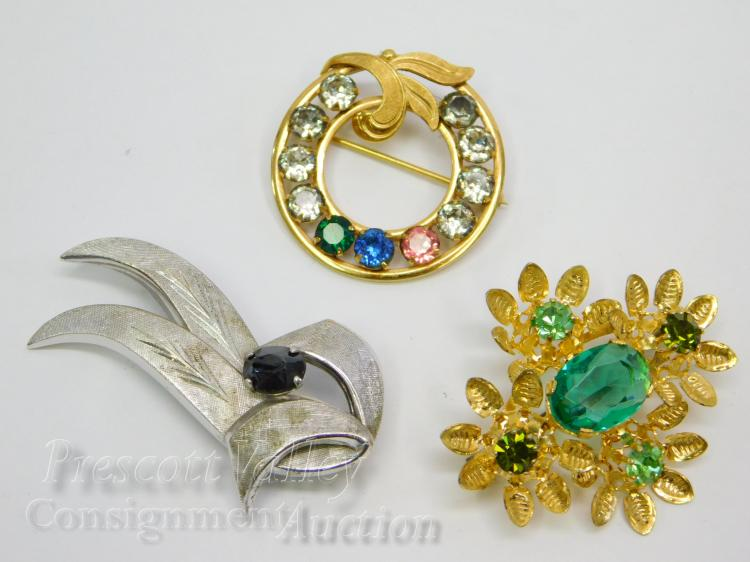 Lot 162: Lot of 3 Vintage Sterling Silver Gold Filled Van Dell and Austrian Crystal Brooches