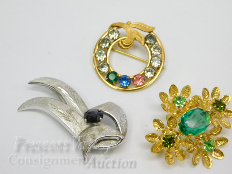 Lot of 3 Vintage Sterling Silver Gold Filled Van Dell and Austrian Crystal Brooches