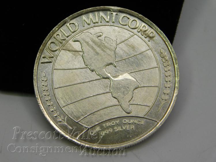 Lot 166: 1973 World Mint Corp One Silverado Troy Ounce .999 Fine Silver Bullion Round