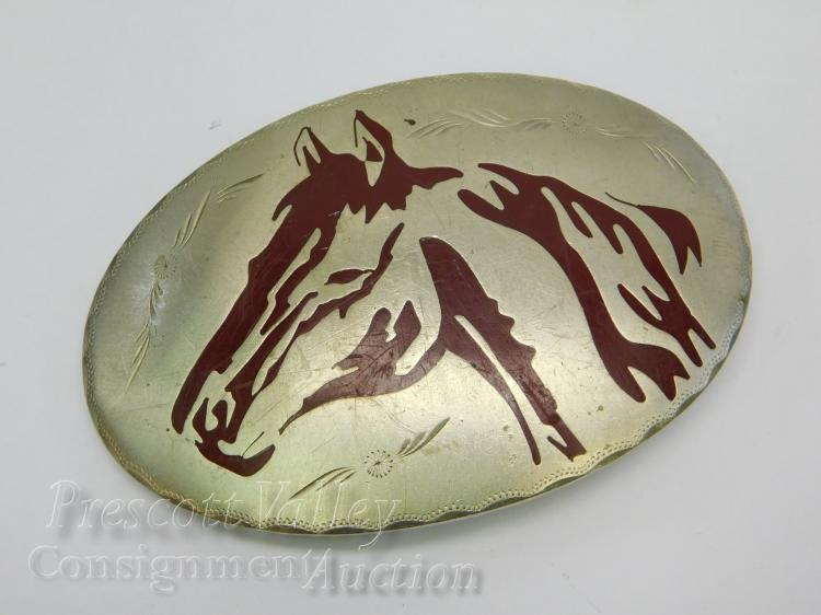 Vintage Western Chased and Enameled Horse Head Belt Buckle