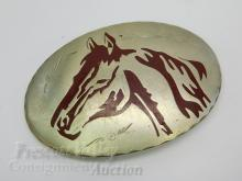 Lot 167: Vintage Western Chased and Enameled Horse Head Belt Buckle