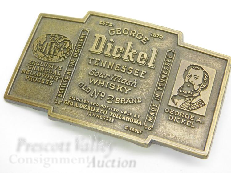 Vintage George Dickel Tennessee Whiskey Advertising Belt Buckle