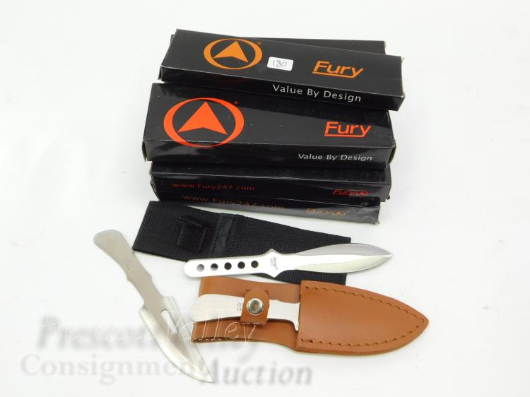 Lot of 7 Unused Fury Throwing Knife and Sheath Sets