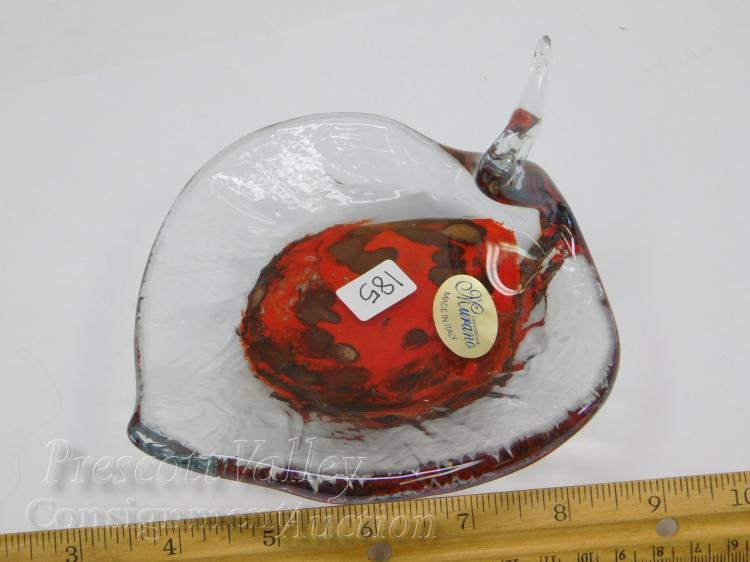 Lot 185: Lavorazione Murano Art Glass Bird Dish