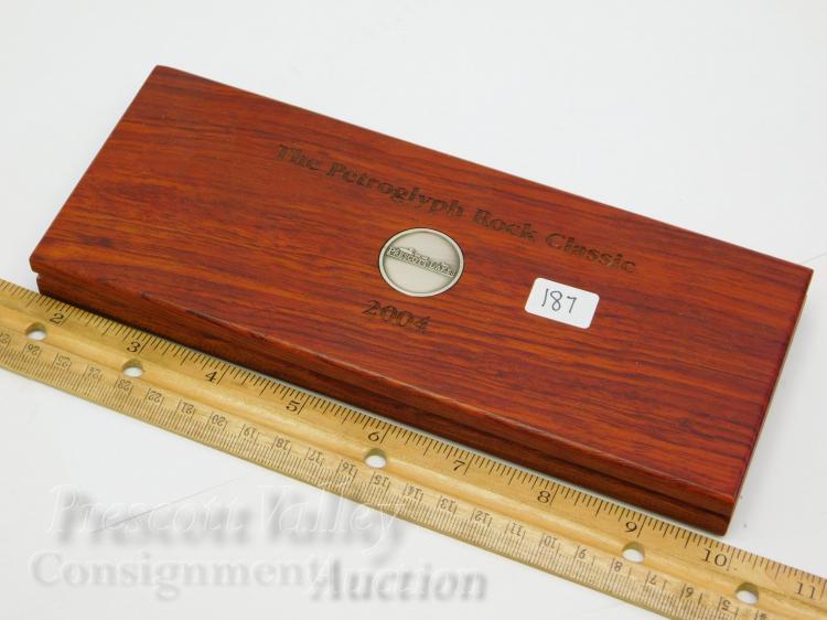 Lot 187: Prescott Lakes Petroglyph Rock Classic Set of 6 Golf Charms in Wood Case